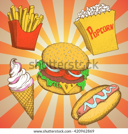 Set with fast food meals .Cartoon vector illustration. Hamburger, hot dog, popcorn,sandwich,french fries,potato, ice cream.Pop-art style