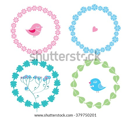 Set with floral circle frames wreathes with wild flowers and trees leaves, all isolated on white. Cute circle frames, birds, heart - details for your design, bridal greeting cards, wedding, crafting. - stock vector