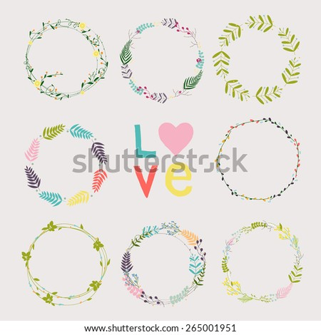 Set with floral wreaths. Template for wedding, mothers day, birthday, invitations. - stock vector