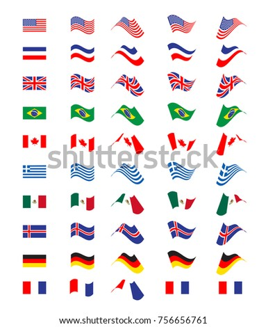 Set with flying flags of different countries. Vector