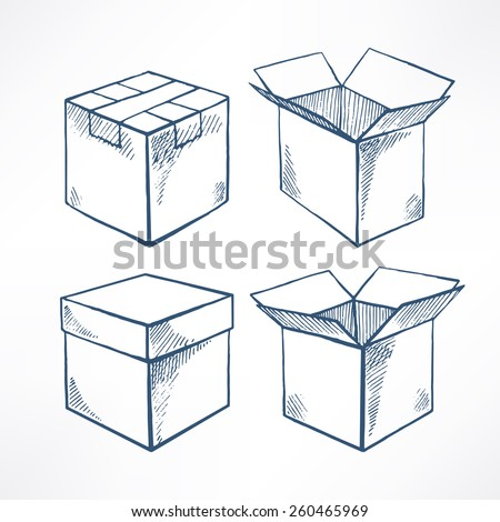 Set with four sketch boxes. open and closed boxes. hand-drawn illustration - stock vector