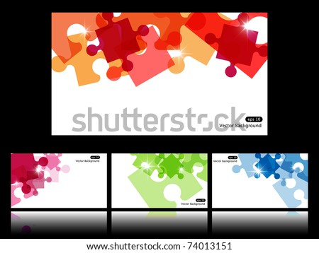 Set with four vector backgrounds with puzzle - stock vector