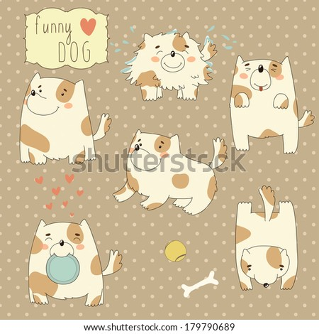 Set with funny cartoon dog - stock vector