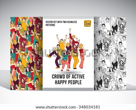 Set with group of happy people and two seamless patterns. Color vector illustration. EPS10