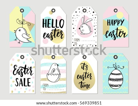 Happy easter card stock images royalty free images vectors set with happy easter gift tags and cards with calligraphy handwritten lettering hand drawn negle Choice Image