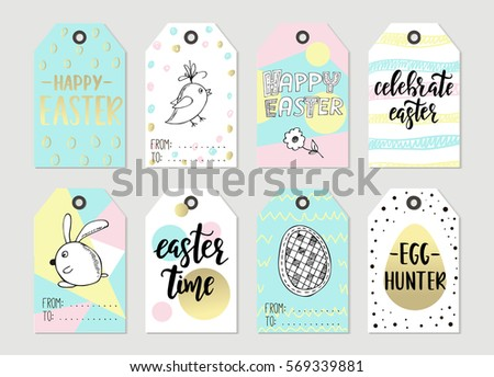 Easter tag stock images royalty free images vectors shutterstock set with happy easter gift tags and cards with calligraphy handwritten lettering hand drawn negle Gallery