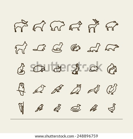 Set with icons - forest animals and birds. A vector. - stock vector