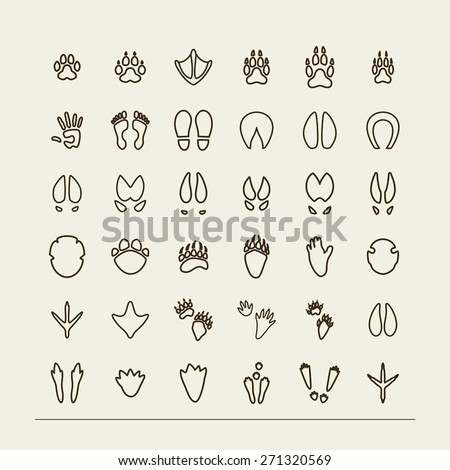 Set with icons - traces of animals and birds. A vector. - stock vector