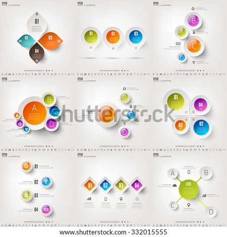 Set with infographics. Data and information visualization. Template. - stock vector