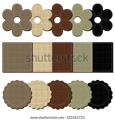 set with leather scrapbook objects - stock vector