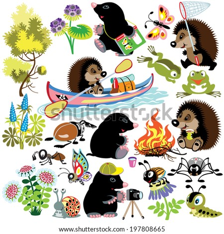 set with mole and hedgehog exploring the world of insects, isolated cartoon images for little kids - stock vector