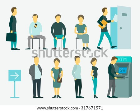 Set with people vector illustration ATM, queue turn the door - stock vector
