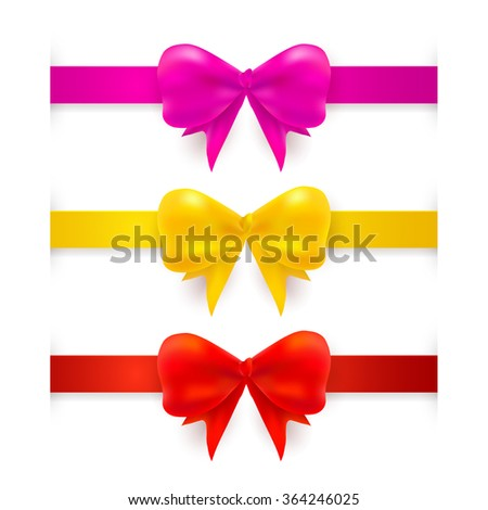 Set with realistic red, pink, yellow bows. Vector illustration. EPS 10