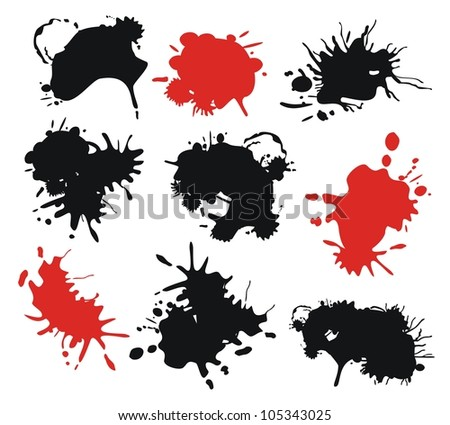 Set with red and black ink splats - stock vector