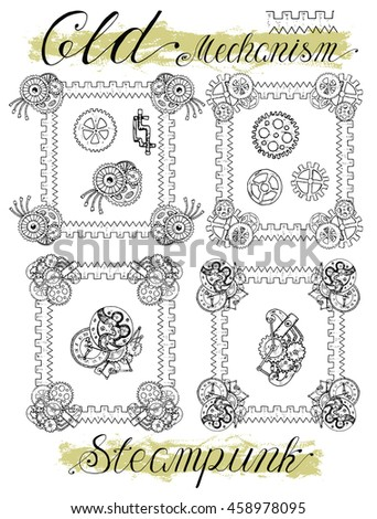 Set with retro mechanical frames in steampunk style. Fantasy engines, mechanisms and machines. Old technology concept. Sketch graphic illustration in doodle style with hand drawn elements - stock vector