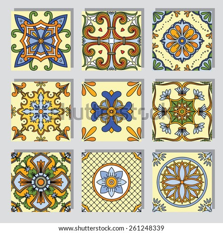 Set with seamless ornamental tile background.Can be used for desktop wallpaper or frame for a wall hanging or poster,for pattern fills, surface textures, web page backgrounds, textile and more - stock vector