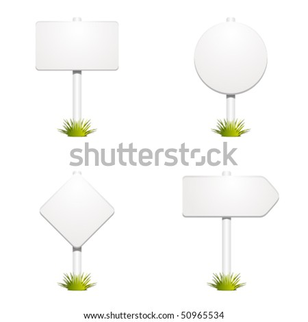 Set with sign with grass vector - stock vector