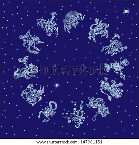 set with signs of zodiac on starry sky - stock vector