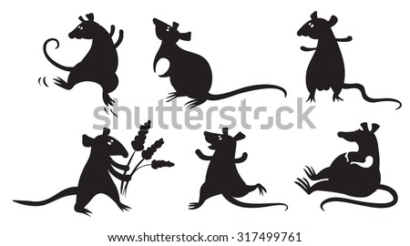 Set with silhouettes of fancy domestic rats - stock vector