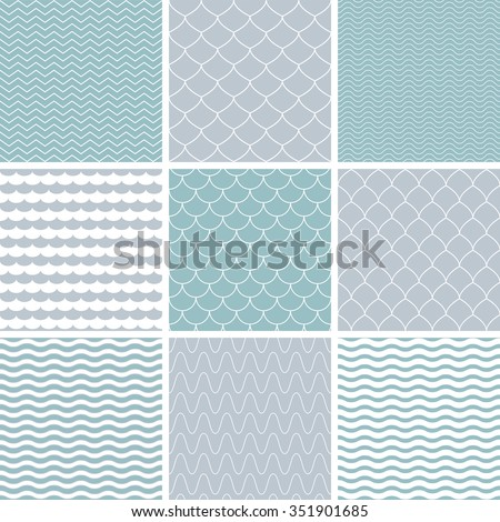 Set with simple seamless patterns. Background with waves. Vector illustration. - stock vector
