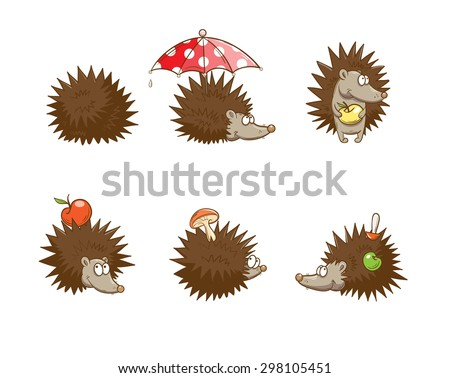 Set with six cute cartoon hedgehogs, hedgehogs do stocks for the winter. Autumn time. - stock vector
