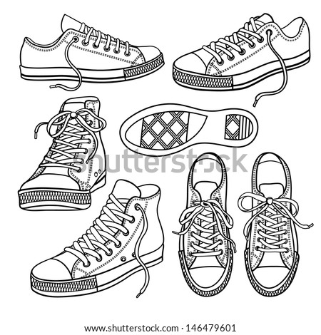set with sneakers isolated on white - stock vector