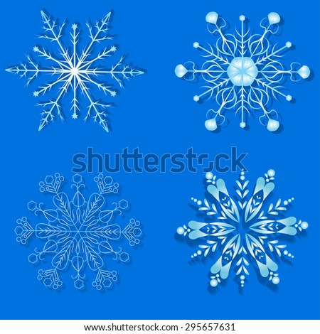 Set with snowflake on blue background - stock vector