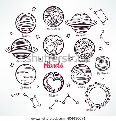 Set with the planets of the solar system and the constellations on white background. hand-drawn illustration - stock vector