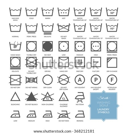 Set with thin line washing icons and laundry symbols. Vector illustration. EPS 10 - stock vector