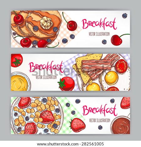 set with three banners of different types of breakfast. hand-drawn illustration - stock vector
