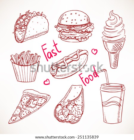 Set with various fast food. hot dog, hamburger, pizza slice. hand-drawn illustration - stock vector