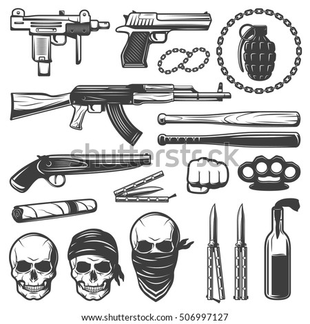 Set Various Isolated Gangster Symbols Weapons Stock Vector 506997127