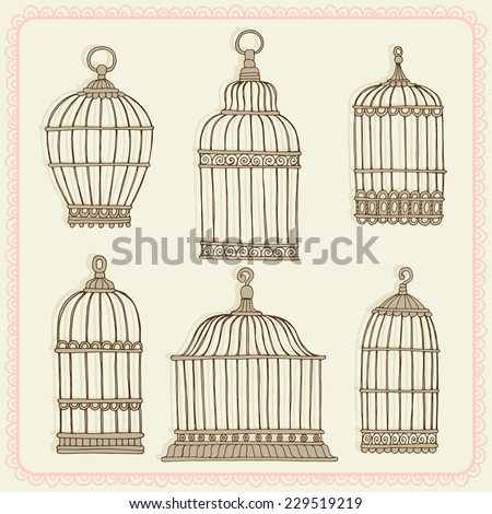 Set with vintage bird cage. - stock vector
