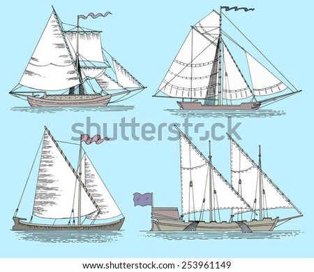 Set with vintage fishing boats. Hand drawn flat illustration with sailing vessels on blue background - stock vector