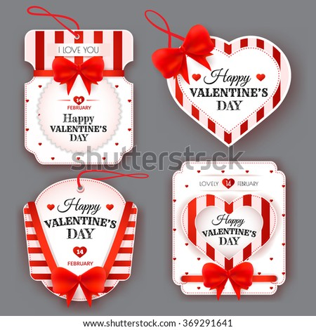 Set with vintage red and white labels with bows on Valentine's Day. Vector illustration. EPS 10 - stock vector