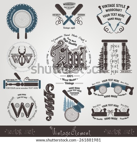 set woodcraft and carpenter label brand style drill saw axe knife knife for carving jack-plane type - stock vector