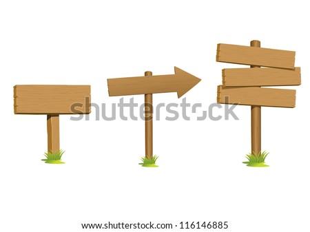 Set wooden sign vector - stock vector