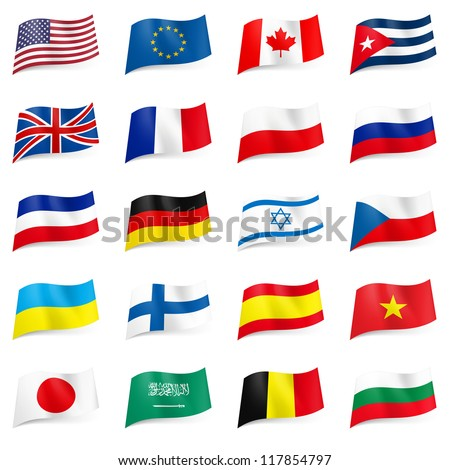 Set World flags icons. Illustration on white