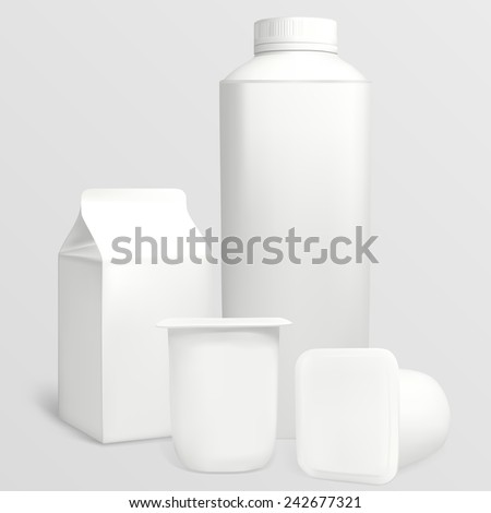 Set yoghurt cartons. Each object can be used separately. Illustration contains gradient meshes. - stock vector