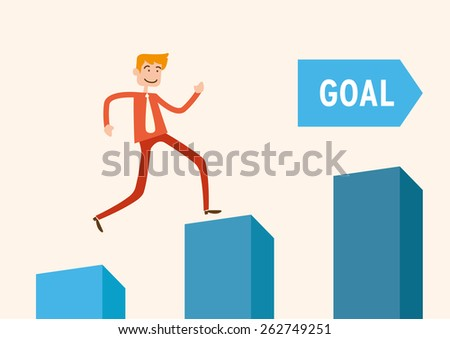 Set your goals. Motivating business goals and achievements to higher place - stock vector