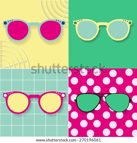 Seth Pop art illustration of pink glasses on a yellow background. Yellow glasses on a blue background, green glasses on a pink background with white polka dots and blue glasses on a green background. - stock vector
