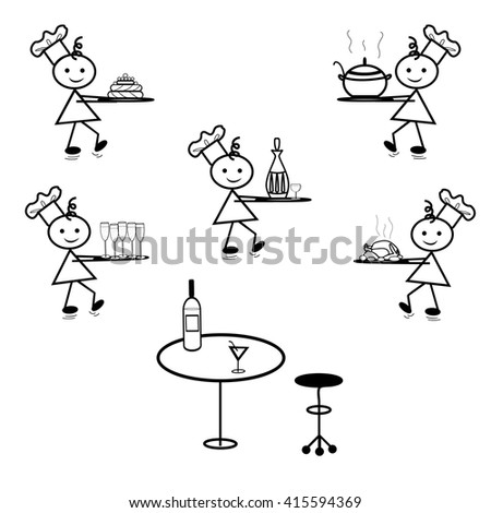 Seth the waiter. Cook. A waiter carries dishes at the restaurant. Stick figure vector - stock vector