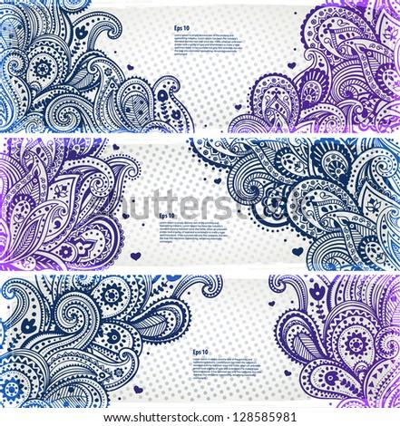 Seto of paisley bookmarks - stock vector