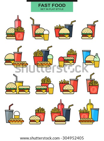Sets burgers with drinks, potato fries, and ice cream. Burger with fries. Objects of fast food. Glass with a drink. Elements of fast food. Hamburgers and hot dogs. Ice cream and sauces. Vector - stock vector