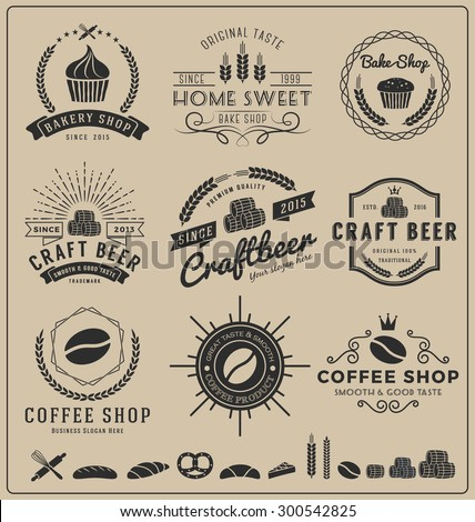 Sets of bake shop, craft beer, coffee shop logo and insignia for branding, label, product packaging, letterpress and other design || Vector illustration and free font used - stock vector