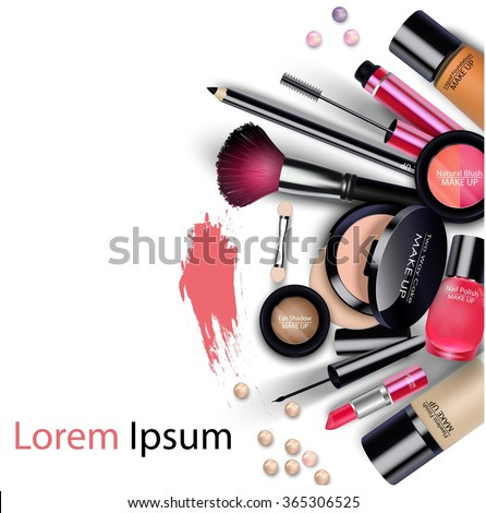 Sets of cosmetics on isolated background.vector