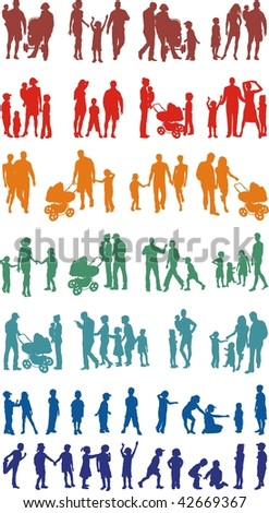 Sets of families of vector colorful illustrations
