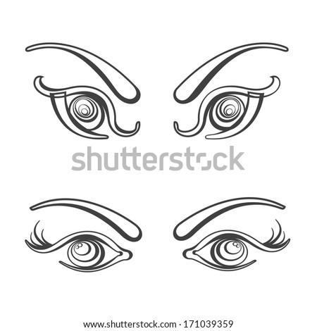 Sets of female eyes vector illustration. Fully editable eps 8 file - stock vector