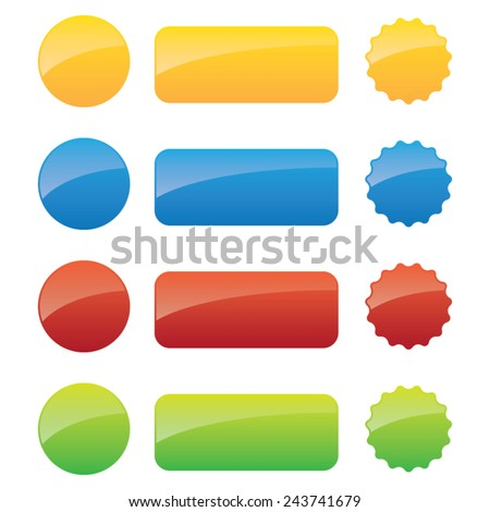 Sets of Glossy Blank Labels - stock vector