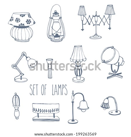 Sets of lamp. Vector illustration  - stock vector